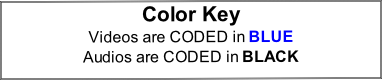 Color Key Videos are CODED in BLUE Audios are CODED in BLACK